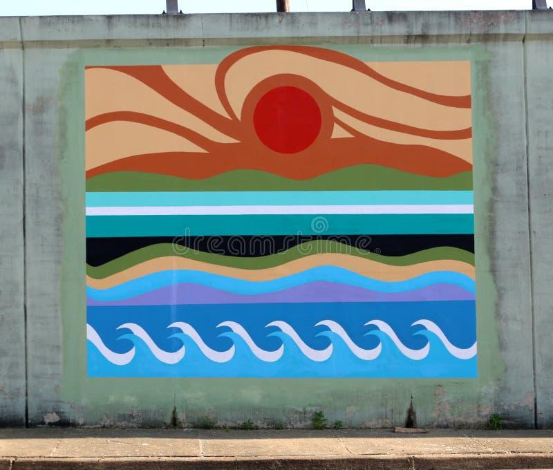 Murale della parete del modello di Wave dell'oceano su un sottopassaggio del ponte su James Rd a Memphis, Tn immagine stock libera da diritti