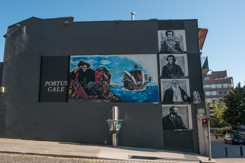 Murale della parete a Oporto, Portogallo, celebrando l'età della scoperta ed il vecchio nome romano di Portus Cale fotografia stock