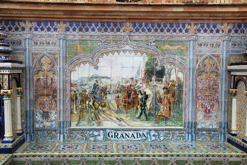 Murale della piastrella di ceramica a Plaza de Espana in Siviglia, fotografia stock libera da diritti