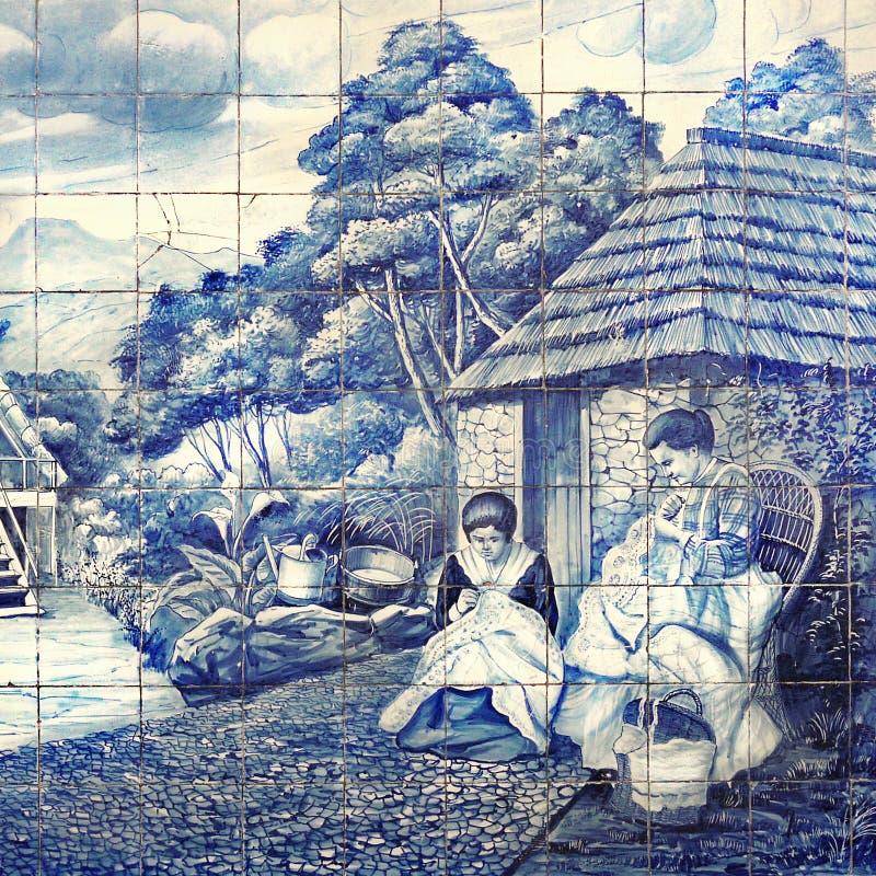 Murale delle piastrelle di ceramica, Portogallo immagini stock libere da diritti