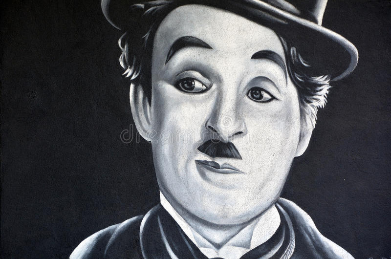 Murale di Charlie Chaplin fotografia stock