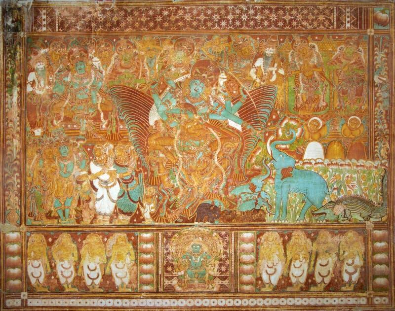 Murale di Gajendra Moksham nel palazzo di Krishnapuram al Kerala, Indi fotografia stock libera da diritti
