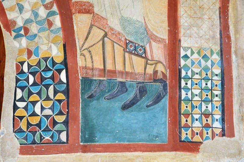 Murale extant sulla parete antica immagine stock