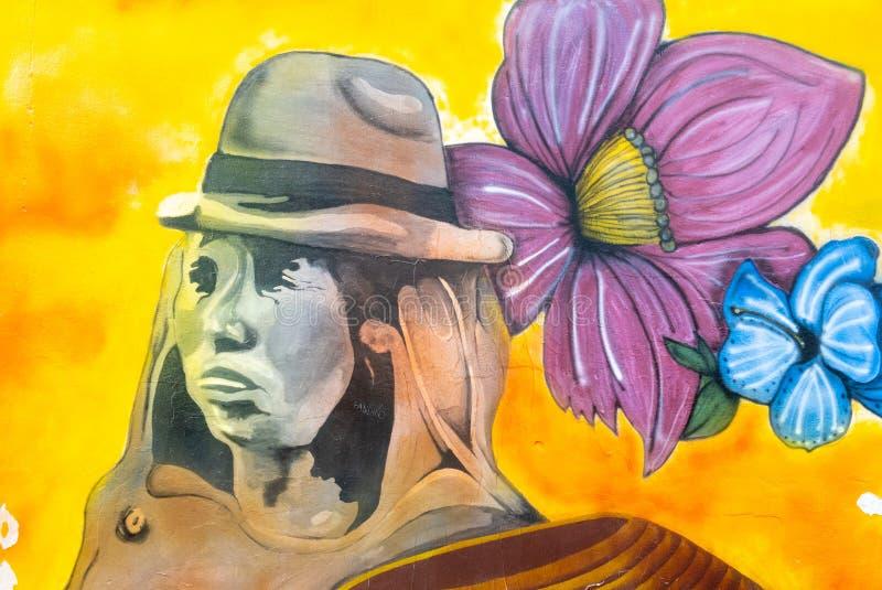 Murales de la Colombie Tunja représentant un indigène aancient photographie stock libre de droits