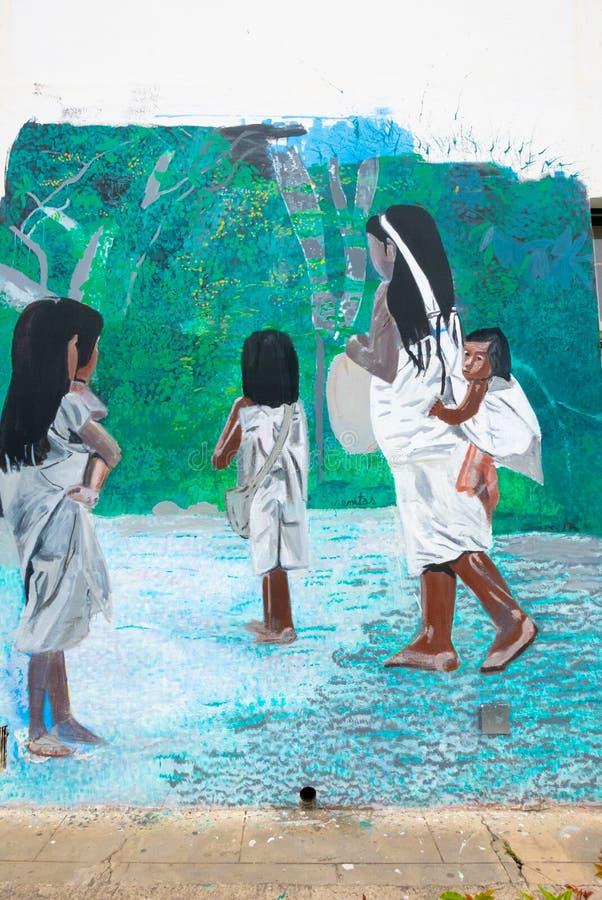 Murales de la Colombie Tunja représentant une mère avec ses enfants photographie stock