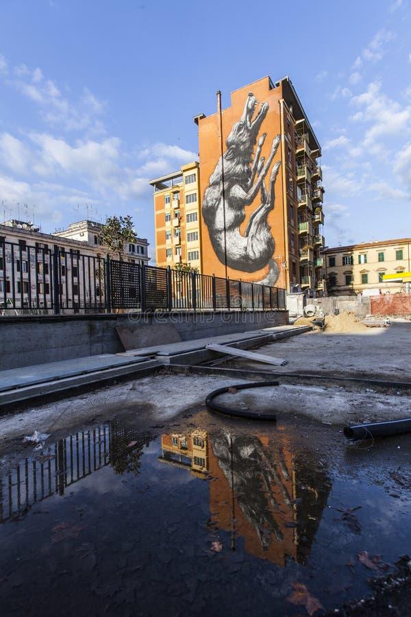 Murales del arte de la calle en Roma para el galery 999contemporary fotografía de archivo