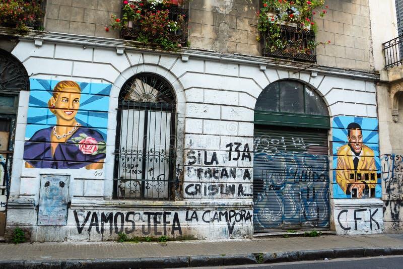 Murales di Evita e Juan Domingo Peron em Buenos Aires imagem de stock royalty free