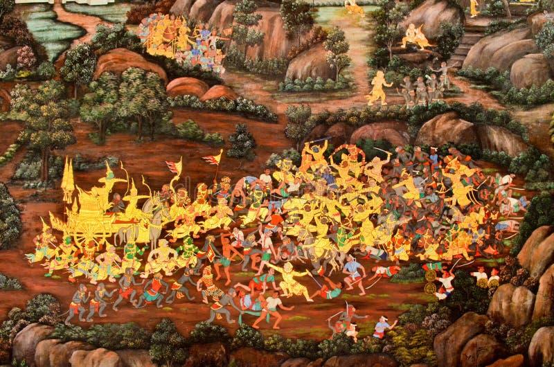 Murales en keaw del phra del wat foto de archivo libre de regalías