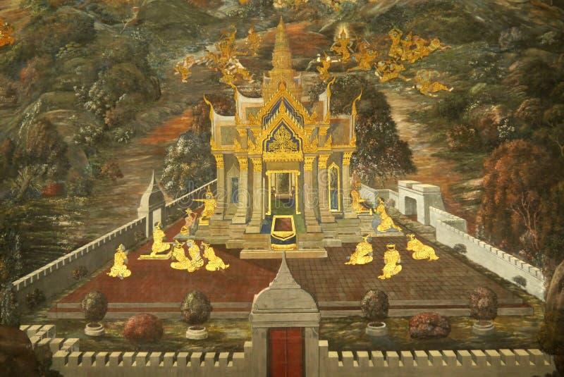 Murales en Wat Phra Kaew imagenes de archivo