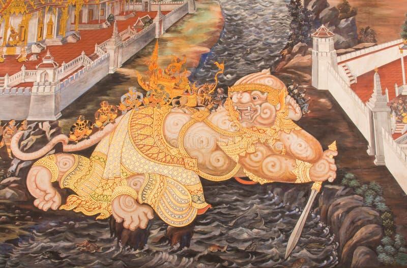 Murales en Wat Phra Kaew fotos de archivo libres de regalías