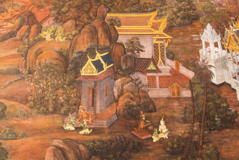 Murales en Wat Phra Kaew imagen de archivo