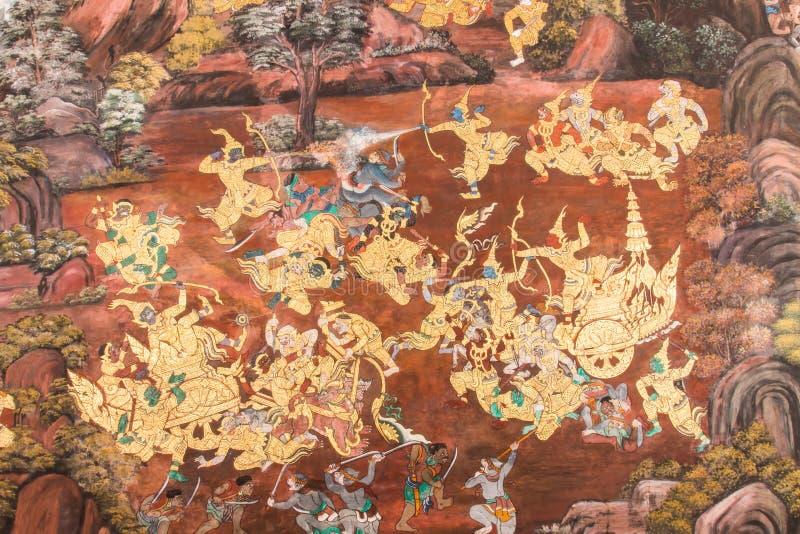 Murales en Wat Phra Kaew imágenes de archivo libres de regalías