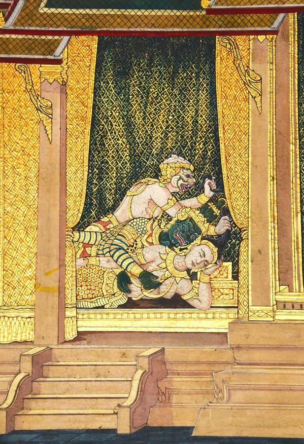 Murales en Wat Phra Kaew, Bangkok, Tailandia. imagen de archivo