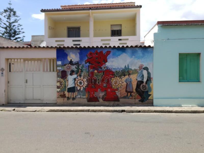 Murales San Sperate Sardinia fotografia stock