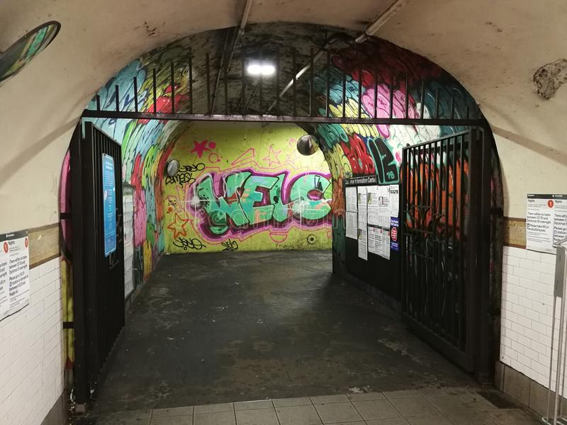 Murales on underground stock photos