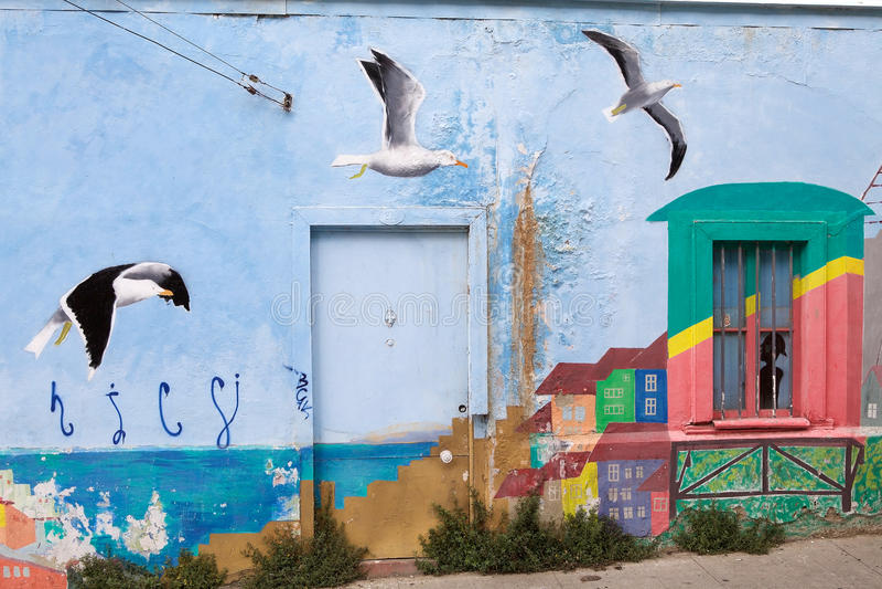 Murales in Valparaiso, Cile immagini stock