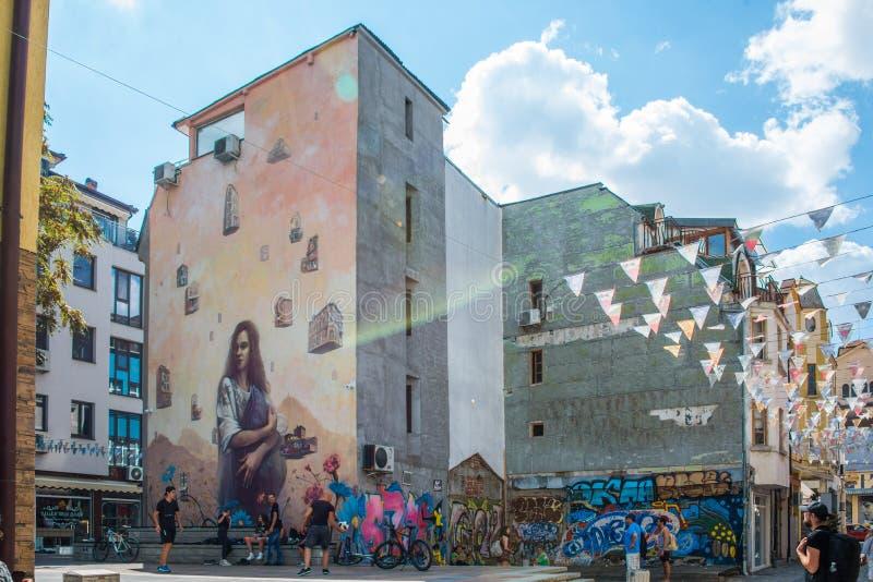 Murales y arte de la calle en Plovdiv fotografía de archivo