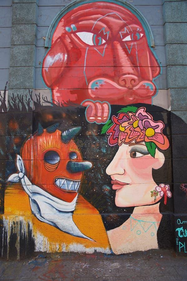 Murali del quartiere ispanico Yungay immagine stock