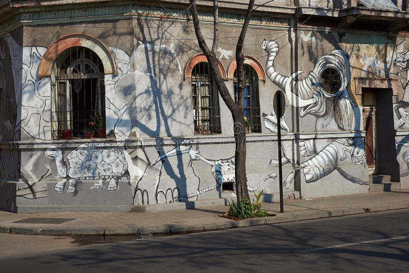 Murali del quartiere ispanico Yungay fotografie stock