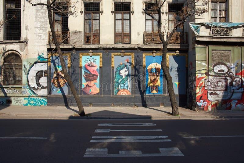 Murali del quartiere ispanico Yungay fotografie stock libere da diritti