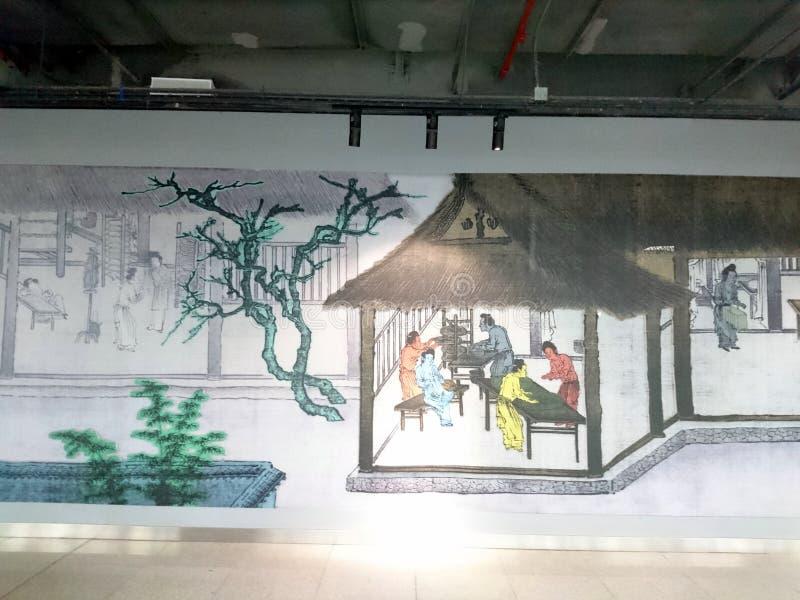 Murals adorn a subway station in shenzhen, China. Murals adorn the che gong miao subway station in shenzhen stock image