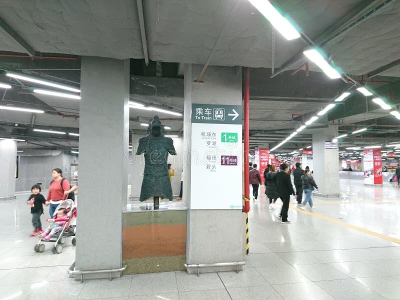 Murals adorn a subway station in shenzhen, China. Murals adorn the che gong miao subway station in shenzhen royalty free stock image