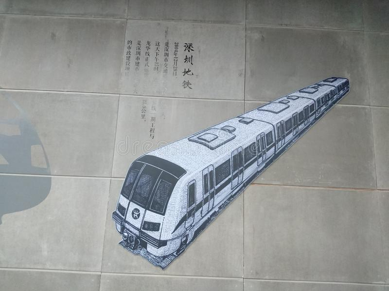 Murals adorn a subway station in shenzhen, China. Murals adorn the che gong miao subway station in shenzhen royalty free stock photo