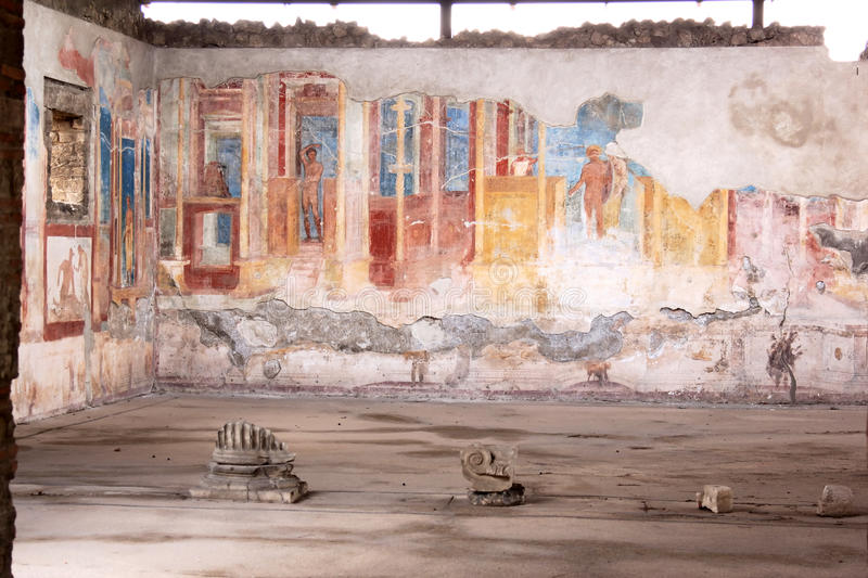 Murals In The Ancient Roman Pompeii Italy Stock Images