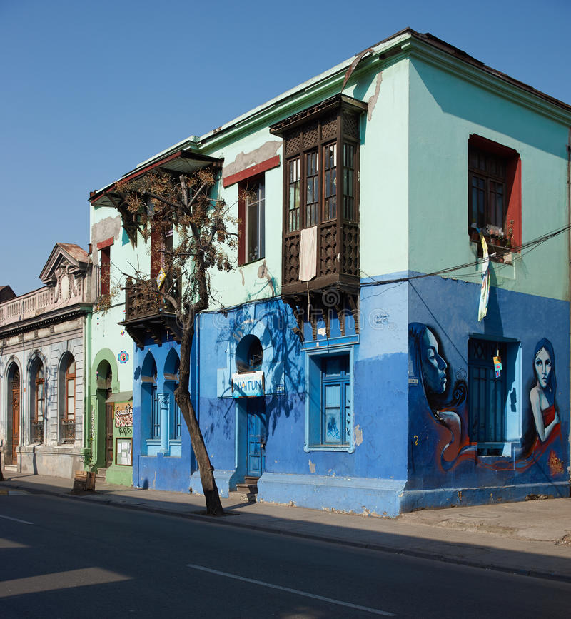 Murals of Barrio Yungay. Colourful murals decorating the streets of Barrio Yungay in Santiago, capital of Chile stock images
