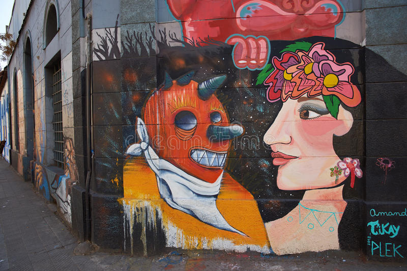 Murals of Barrio Yungay. Colourful murals decorating the streets of Barrio Yungay in Santiago, capital of Chile stock image