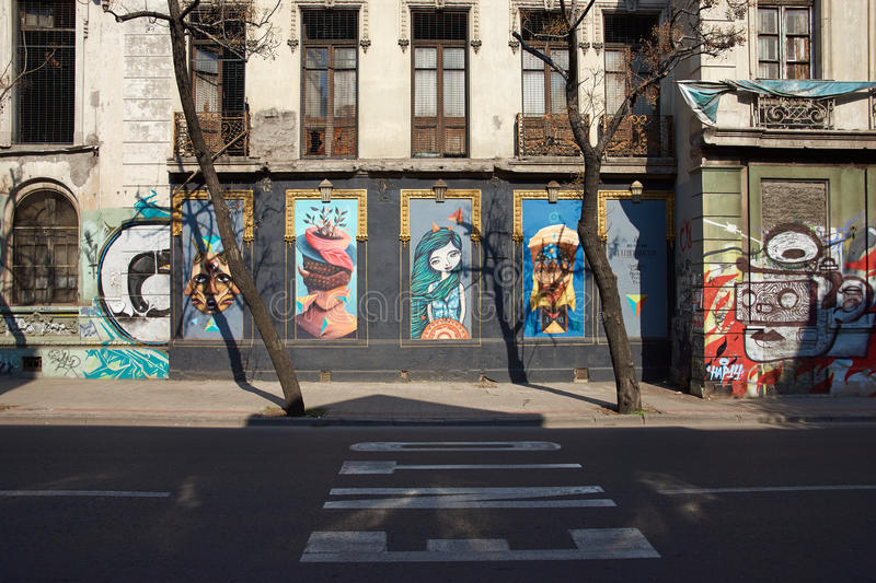 Murals of Barrio Yungay. Colourful murals decorating the streets of Barrio Yungay in Santiago, capital of Chile royalty free stock photos