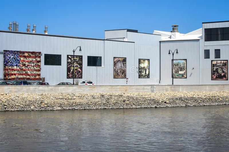 Murals on Beloit Iron Works Building - Wisconsin stock image