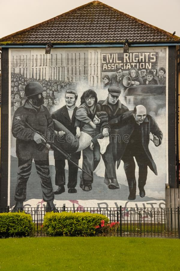 Murals. Derry Londonderry. Northern Ireland. United Kingdom. Murals in the Bogside. Derry Londonderry. Northern Ireland. United Kingdom royalty free stock image