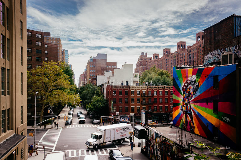 Murals and buildings on 25th Street in Chelsea seen from The High Line in Manhattan, New York. stock image