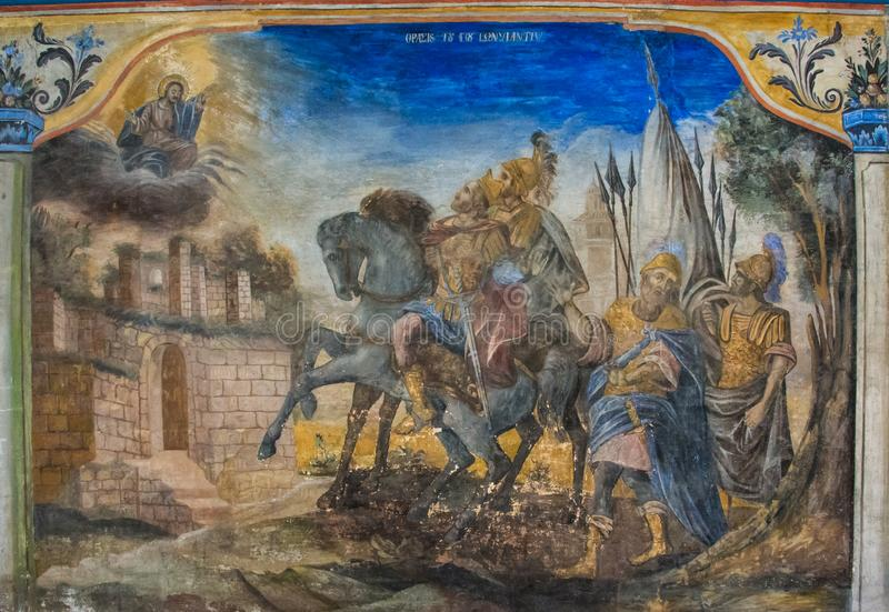 Murals on the Church of the Holy Mother of God, Plovdiv, Bulgaria. It is a Bulgarian National Revival church in Bulgaria`s second largest city Plovdiv. The royalty free stock photo