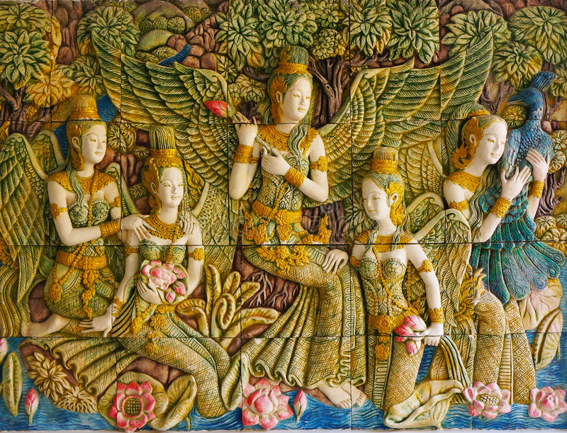 Murals depicting scenes from Buddhist mythology. . royalty free stock image
