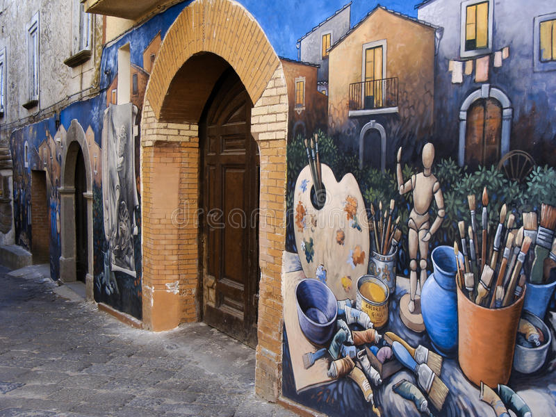 Murals in a little town of Italy stock photography