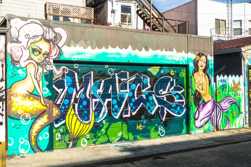 Murals in San Francisco stock photography