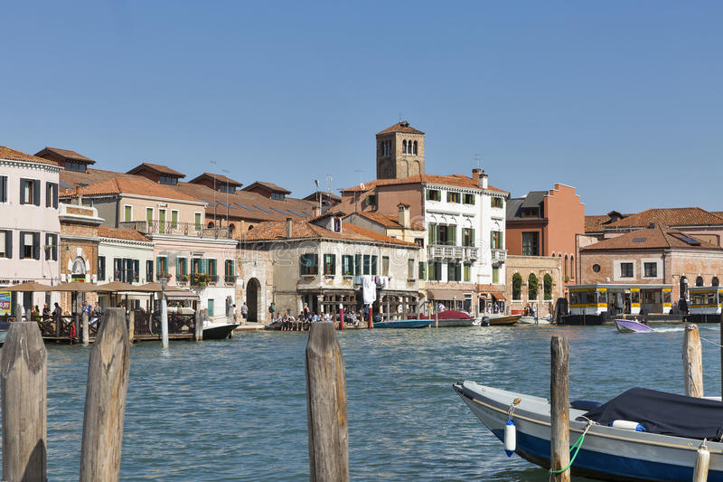 Murano cityscape with canal Ponte Lugno, Venice, Italy. stock photo