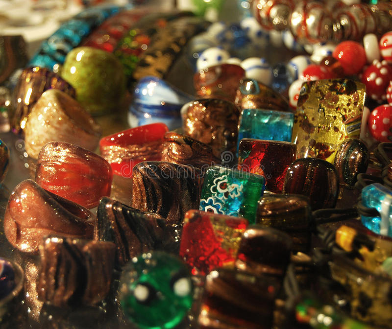 Murano Glass Rings. Display of Murano Glass Rings in a Venetian Shop Window stock photos