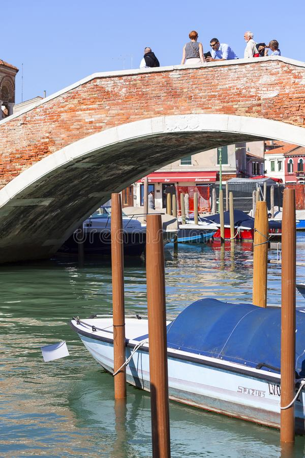 Murano island, view on the canal in the middle of the city,Venice, Italy royalty free stock image