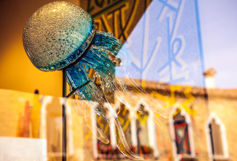 MURANO, ITALY - AUGUST 19, 2016: Famous traditional glass art object in old town of Murano island close-up on August 19, 2016. In Murano, Italy royalty free stock photo