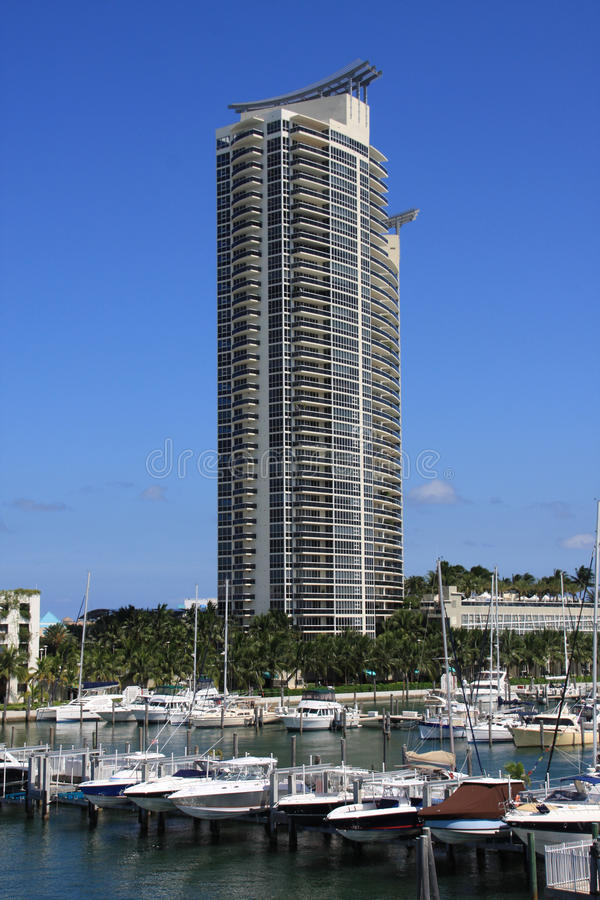 Murano Miami Beach Marina. Murano building and Miami Beach Marina on South Beach stock photos