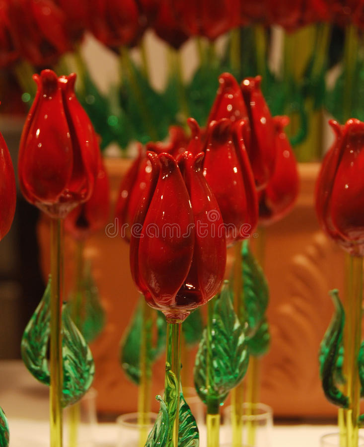 Murano Roses. Display of Murano Glass Roses in a Venetian Shop Window stock photo
