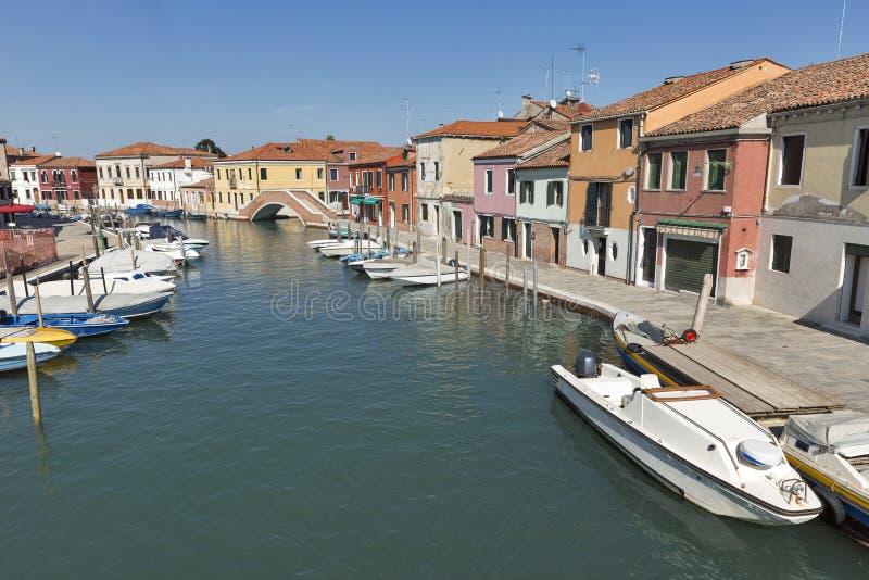 Murano-Stadtbild mit Kanal di San Donato, Venedig, Italien stockbilder