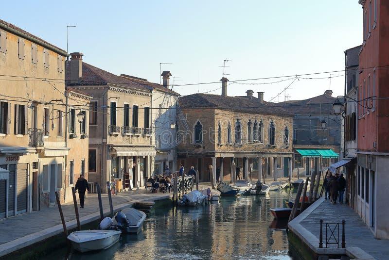 穆拉诺岛海岛,威尼斯,意大利 venier Fondamenta da木拉和的Fondamenta看法  图库摄影