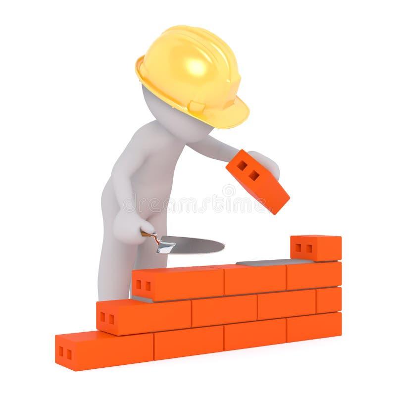 muratore 3d che costruisce una parete illustrazione di stock