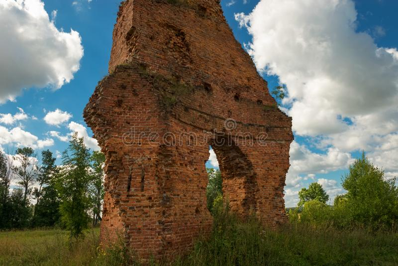 The wall of the Ruined Complex of a military settlement of Count A. A. Arakcheev royalty free stock images