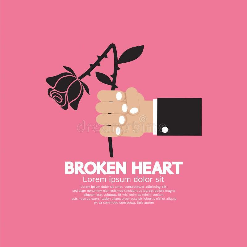 Murchar o conceito de Rose In Hand Broken Heart ilustração stock