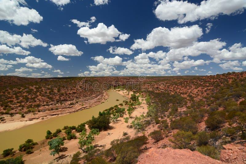 Murchison rzeczny widok od nadokiennego ` s natury punktu obserwacyjnego Kalbarri park narodowy Zachodnia Australia Australia fotografia stock